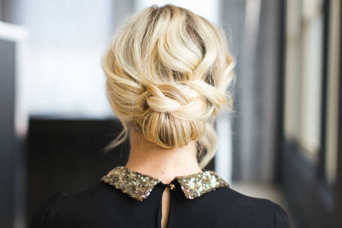 festive holiday updo step-by-step