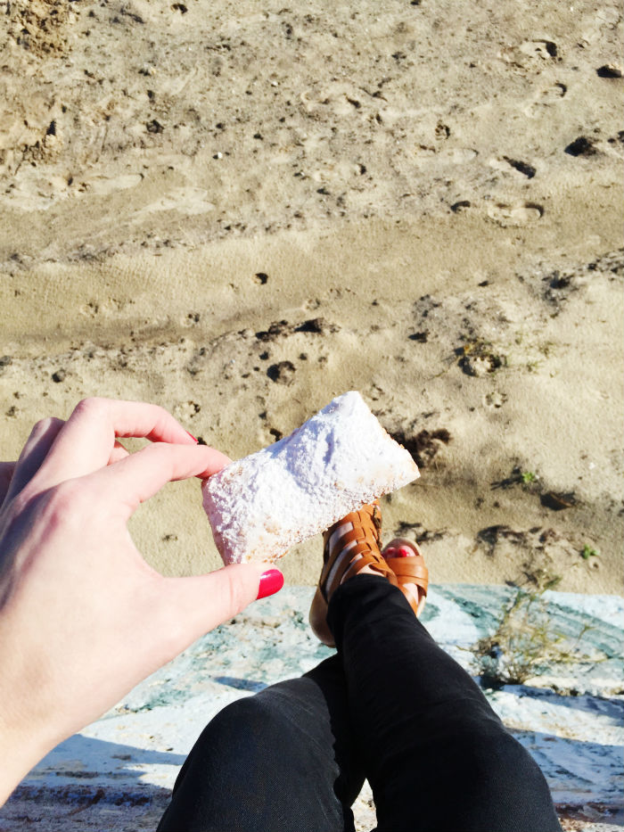 beignets on the beach