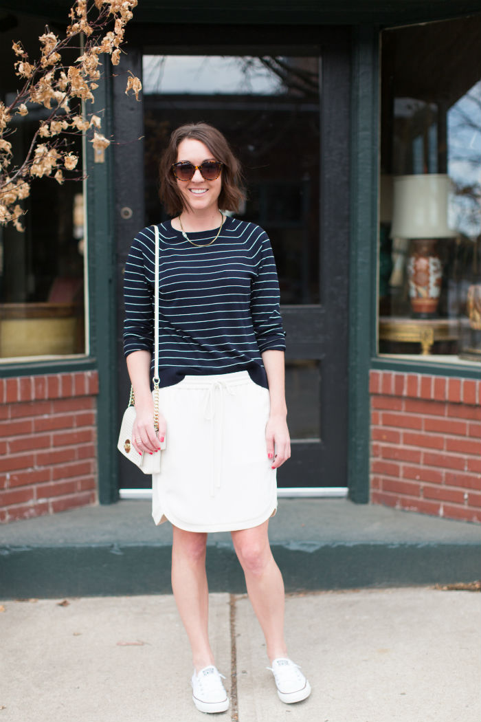 how to wear a skirt with tennis shoes ft. @LOFT @jcrew @coach @converse | @jessicazimlich