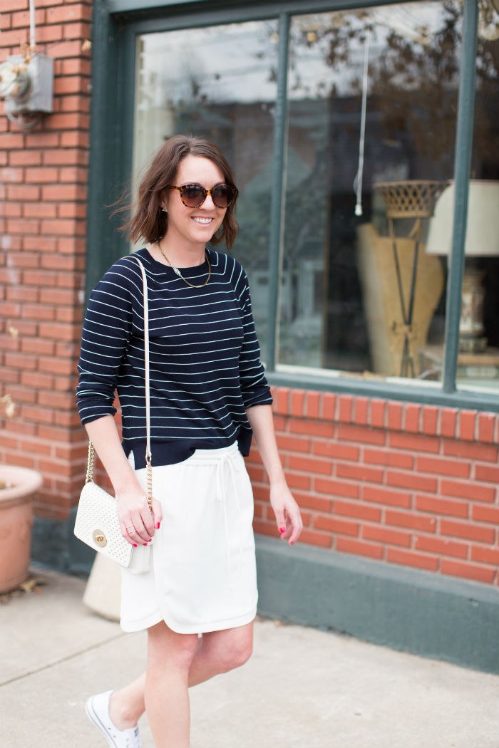 how to wear tennis shoes with a skirt @LOFT @jcrew @coach @converse | @jessicazimlich
