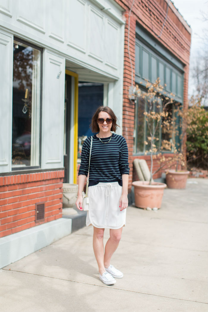 @LOFT stripes + @jcrew drawstring and @coach @converse accessories | @jessicazimlich