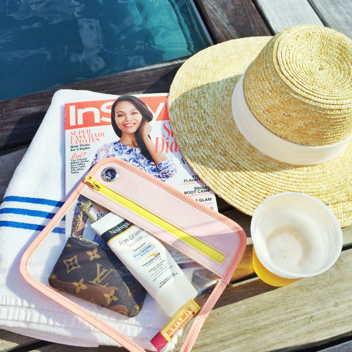 poolside | @jcrew straw hat, and @onetruffle pouch