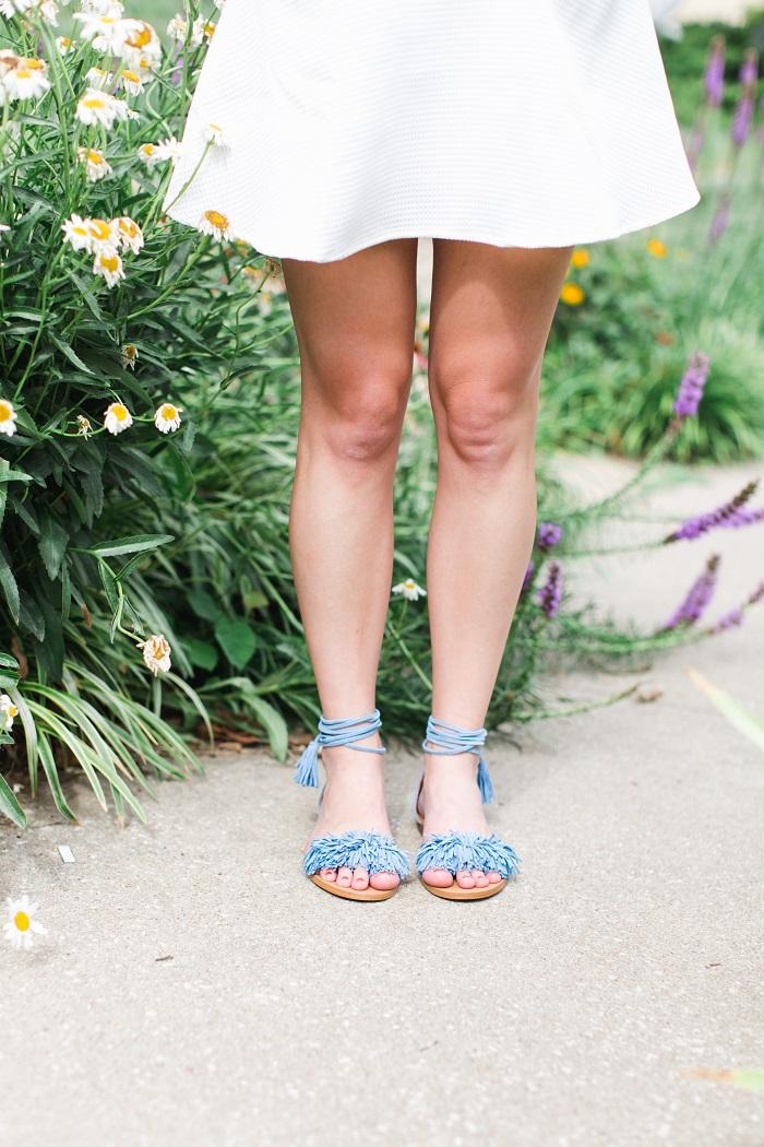 blue fringe sandals