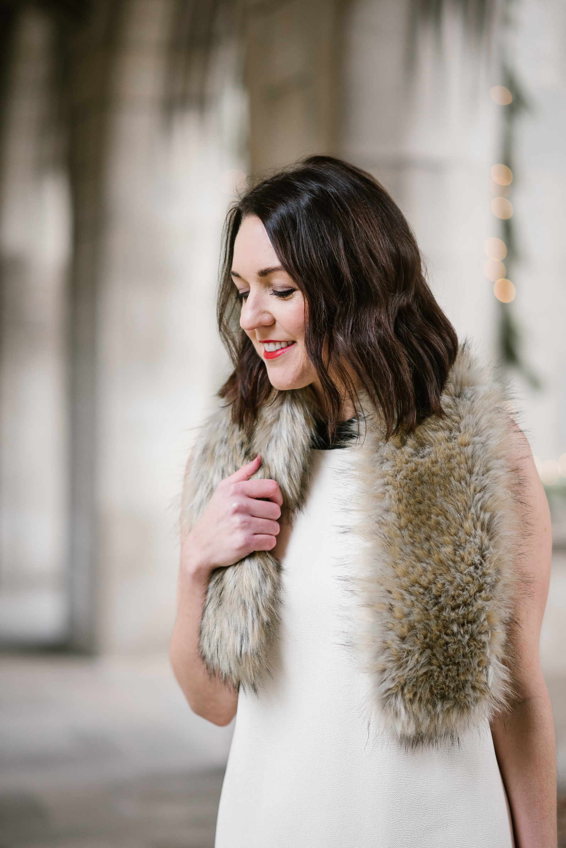 red lipstick and faux-fur
