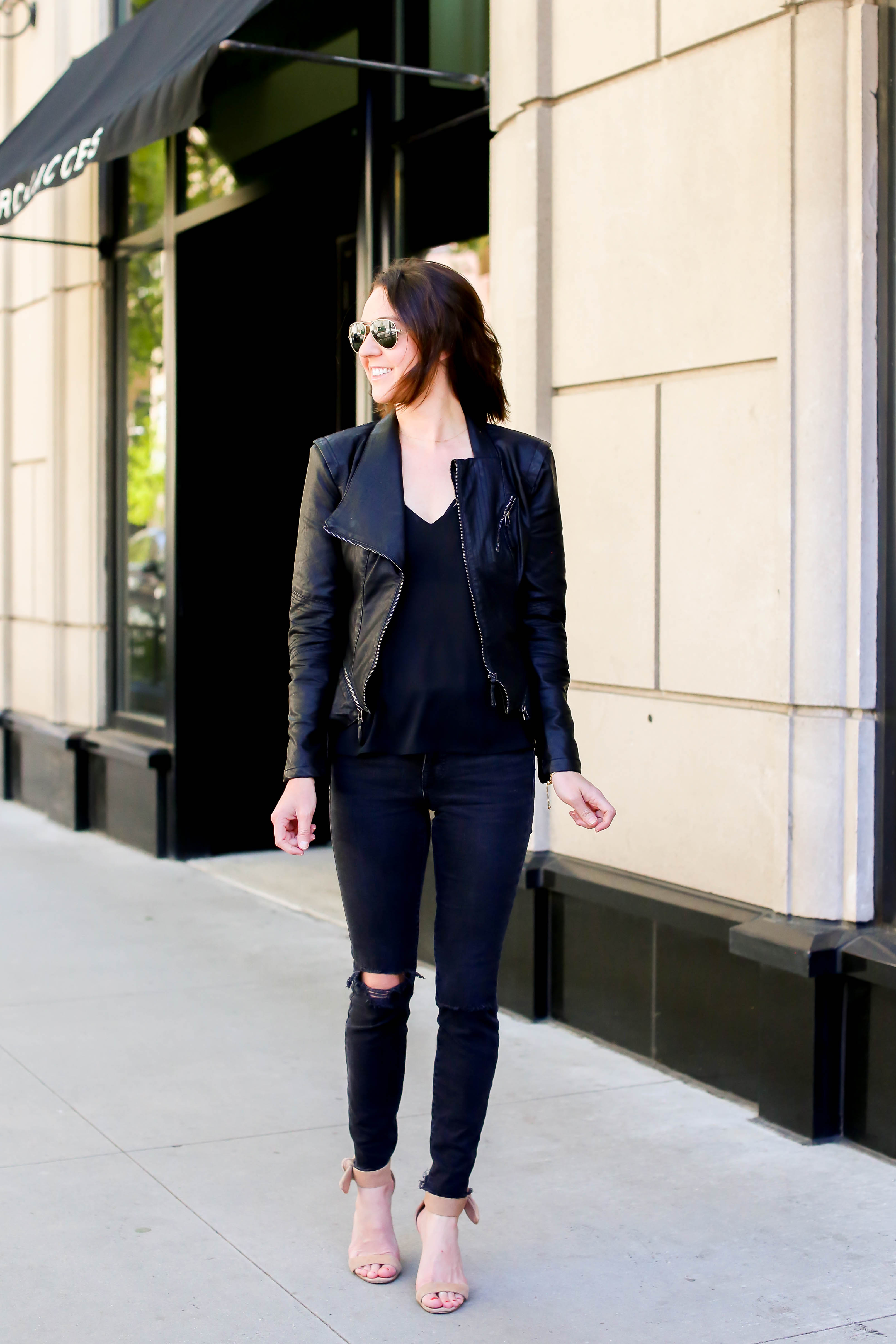 black distressed jeans + black faux leather jacket