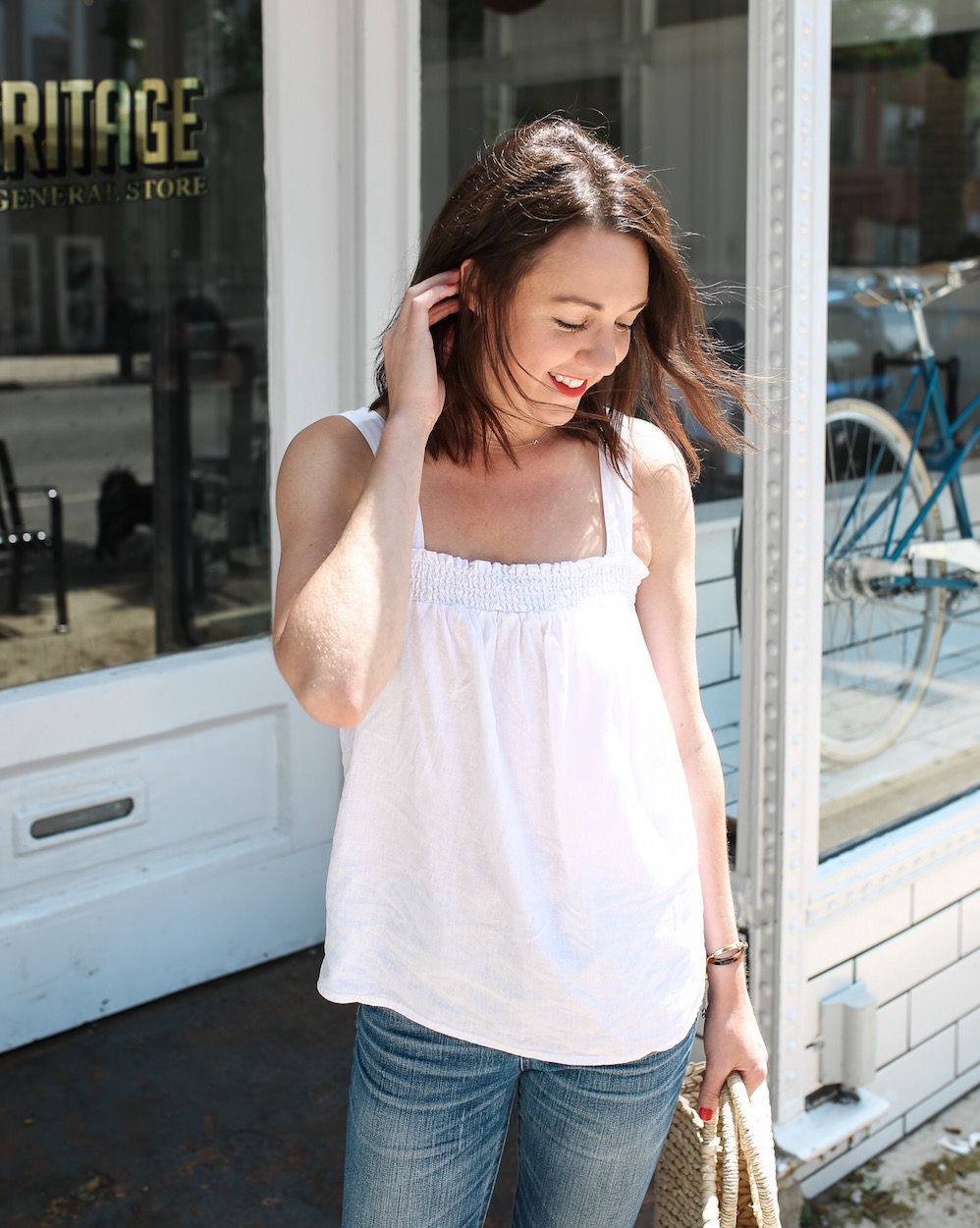 flowy white top for summer